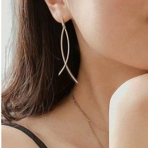 5 for $25 Gold Color Bar Dangle Statement Earrings